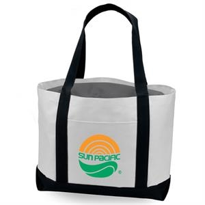 "Two Tone 600d Polyester Tote With Front Slip Pocket And 22"" Fabric Handles"