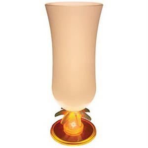 Light Up Glass-Hurricane-15oz-Palm Stem-Frosted OrangeLED