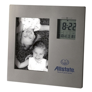 Picture This - Titanium Finished Clock With Photo And Lcd Display