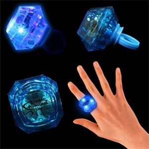 Blue Light Up Diamond Ring With Blue Leds