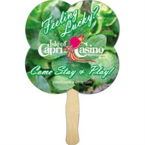Clover Shape Hand Fan With Basswood Handle