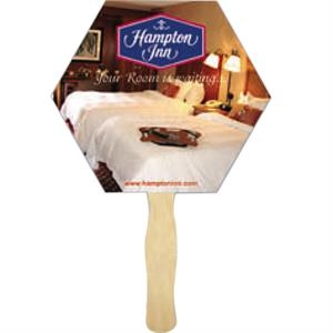 Hexagon Shape Fan With Wood Handle ( Wood Stick) Attached