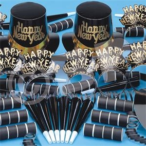 Tiffany Black and Gold New Year Party Kit for 10