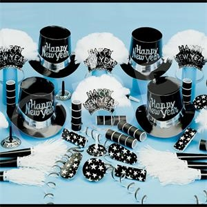Grand Silver New Year's Eve Party Kit for 50