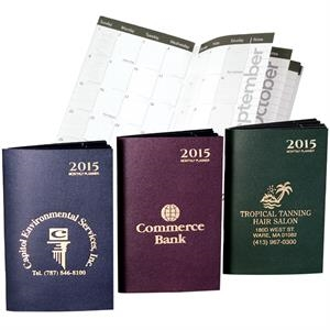 Attache' - Monthly Pocket Planner Bound In Pebble Finish Stiff Cover Stock