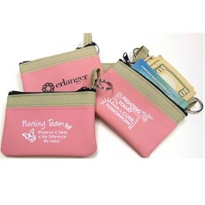 Simply Pink - Coin And Key Zip Purse With Tempered Spring-steel Split Ring. Imported