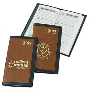 The Executive - Weekly Pocket Planner With Tan Latigo Vinyl Case Framed In Black