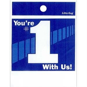 "You're Number One With Us! - Stock Design Single Wall 9"" X 12"" Litter Bag, Customer Appreciation Theme"