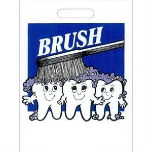 """brush"" With Teeth And Toothbrush - Stock Design 2.0 Mil Plastic Take Home Bag, 9"" X 13"""