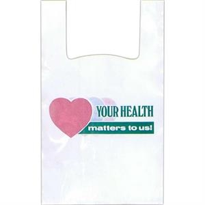 """your Health Matters To Us"" In Green With Pink And Green Hearts - 12"" X 6"" X 24"" - Stock Design T-shirt Grip Bag With 6"" Side Gusset"