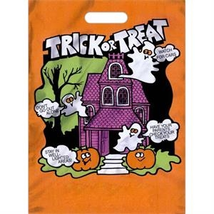 "Halloween Bag With ""trick Or Treat"" Text And Safety Tips On Front, 11"" X 15"""