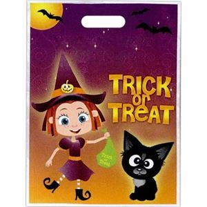 """trick Or Treat"" With Witch Costume And Black Cat. - Stock Design Full Color Halloween Bag, 11"" X 15"""