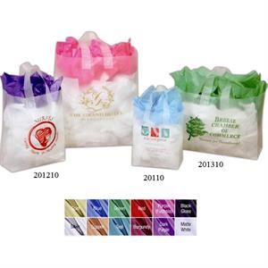 "16"" X 6"" X 12"" - Frosted Translucent Poly Shopping Bag With Soft Strap Handles"