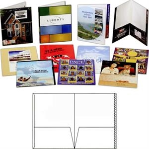 "1 Color - Gloss Finish Presentation Folder With Two 4 1/2"" Glued Pockets And 3/4"" File Tab"