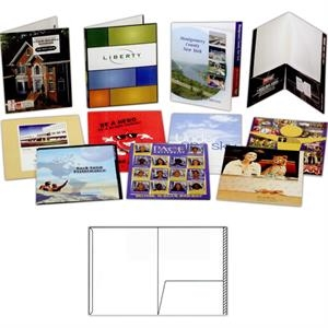 "1 Color - Gloss Finish Presentation Folder With One 4 1/2"" Glued Pocket And 3/4"" File Tab"