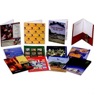 "4-color - Film Laminated Presentation Folder With Two Glued Pockets And 3/4"" Visible File Tab"