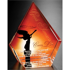 "Coventry Illumachrome (tm) Gallery - 5"" X 6"" X 2 1/2"" - Diamond Shaped Award Made Of Optical Crystal"