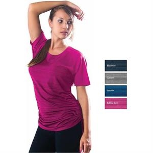 Amber - 2 X L - Women's Short Sleeve Syntrel(tm) Drawstring Tee, 92% Polyester, 8% Lycra(r)
