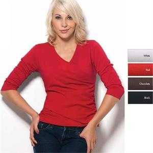 Lourdes - 4 X L - Women's 3/4 Sleeve Length Dri-balance(tm) V-neck Shirt