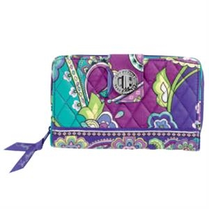 Turn Lock;vera Bradley - Plum Crazy - Wallet With Rows Of Card Slips; Expandable Bill Area And Zippered Coin Pouch. Blank
