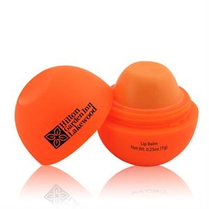 Round Orange Lip Balm Ball With Tangerine Flavor And Custom Imprint