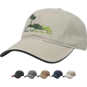 Golf And Resort Collection - Two-tone, Unstructured Cap. Low Profile, Six Panel. Fabric Strap