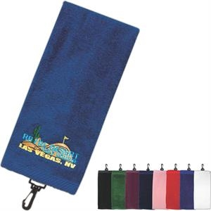"Golf And Resort Collection - Silkscreen - Trifold Premium Cotton Velour Golf Towel; 16"" X 26"""