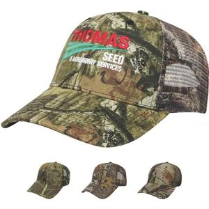 Camouflage Series - Camouflage Twill Fabric Cap With Matching Camo Mesh Back