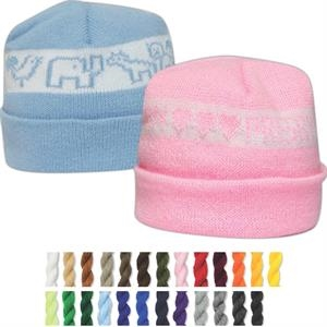Snuggle Caps (tm) Usa Knit Series - It's A Girl - Cotton Jacquard Knit Cap Washed And Tumbled For Softness. For Infants