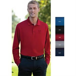 Omega Vansport (tm) - Lgt - Long Sleeve Solid Mesh Tech Polo Shirt