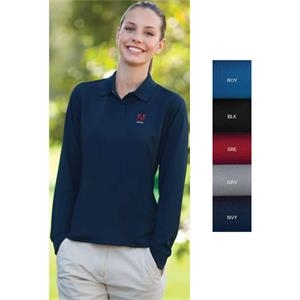 Omega Vansport (tm) - 2 X L - 3 X L - Women's Long Sleeve Solid Mesh Tech Polo Shirt
