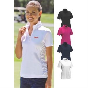 Vansport (tm) Omega -  X S -  X L - Women's Ruched Side Panels Polo Shirt- New!