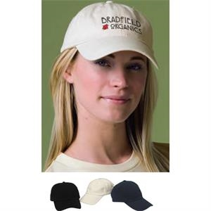 Organic Cotton Washed Twill Cap Has Adjustable Velcro Back Closure