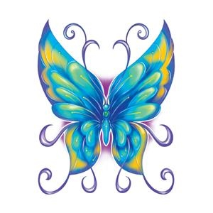 "2"" X 2"" - Blue & Yellow Butterfly Tattoo"