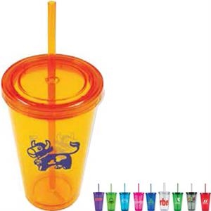 Freedom - 16 Oz Acrylic Double Wall Insulated Tumbler With Matching Straw
