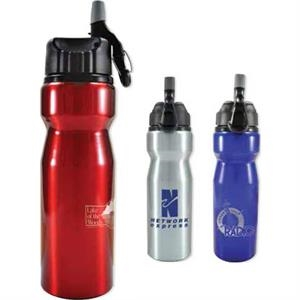 Performance - 27 Oz Aluminum Bottle With Screw On Sipper Lid. Built In Carabiner