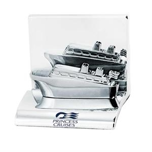 Cruise Ship - Chrome Metal Business Card Holder