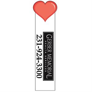 Full Color Digitally Imprinted Bookmark With Heart Shaped Top