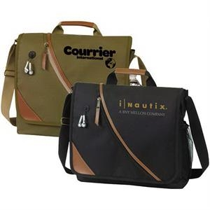 San Bruno - Messenger Bag With Leatherette Trim And Diagonal Front Zipper Pocket, Ipod Port