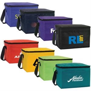 Belmont - Nylon 6 Pack Cooler Features Black Zipper And Strap, Water Proof Lining