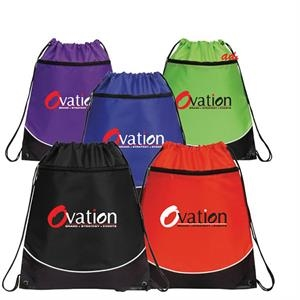 Atlantis - 210 Denier Nylon Drawstring Backpack With A Large Front Zippered Pocket