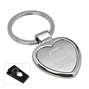 Cupid - Heart Shaped Key Tag. Silver Tone