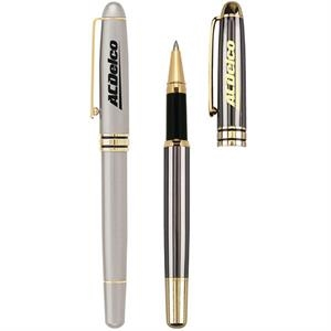 Classic Silvers - Cap-off Brass Rollerball Pen. Shiny Gold Trim