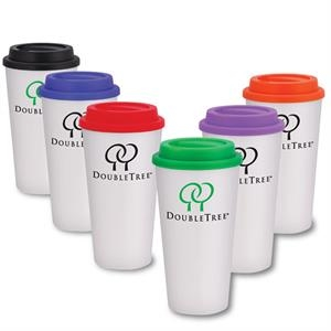 Camarillo - 16 Oz Double Wall Plastic Travel Tumbler. Screw-on Lid
