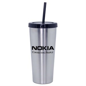 Agoura - 16 Oz Stainless Steel Travel Tumbler. Screw-on Spill-proof Lid