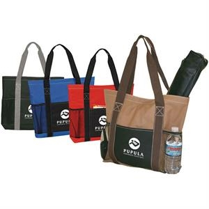 Metro - Tote Bag With Velcro Top Closure. Front Slip Pocket. Side Mesh Pockets
