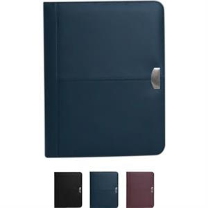 Stanford - Rich Bonded Leather Standard Padfolio With Silver Medallion Accent