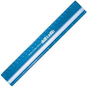 "Acrylic 12"" Ruler With Magnifying Strip. Inch And Metric Scale"