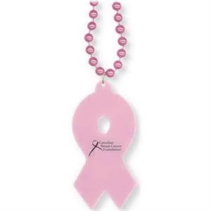 "Awareness Ribbon Shaped Medallion On 33"" Long Necklace With 7 1/2mm Beads"