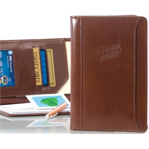 Atlantis - Brown - Leather Junior Padfolio With Front Cover Storage Pocket